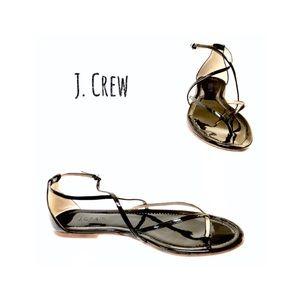 J. Crew Audra Black Patent Sandals. Size 8.5M